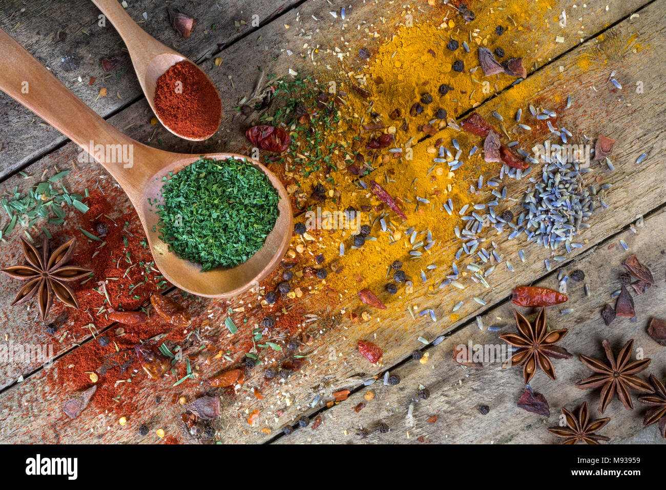 Herbs and Spices - used to add flavor and seasoning to cooking. - Stock Image