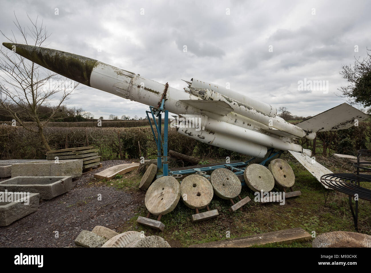 A Bristol Bloodhound surface-to-air missile for sale in a Somerset reclamation yard, UK. Stock Photo