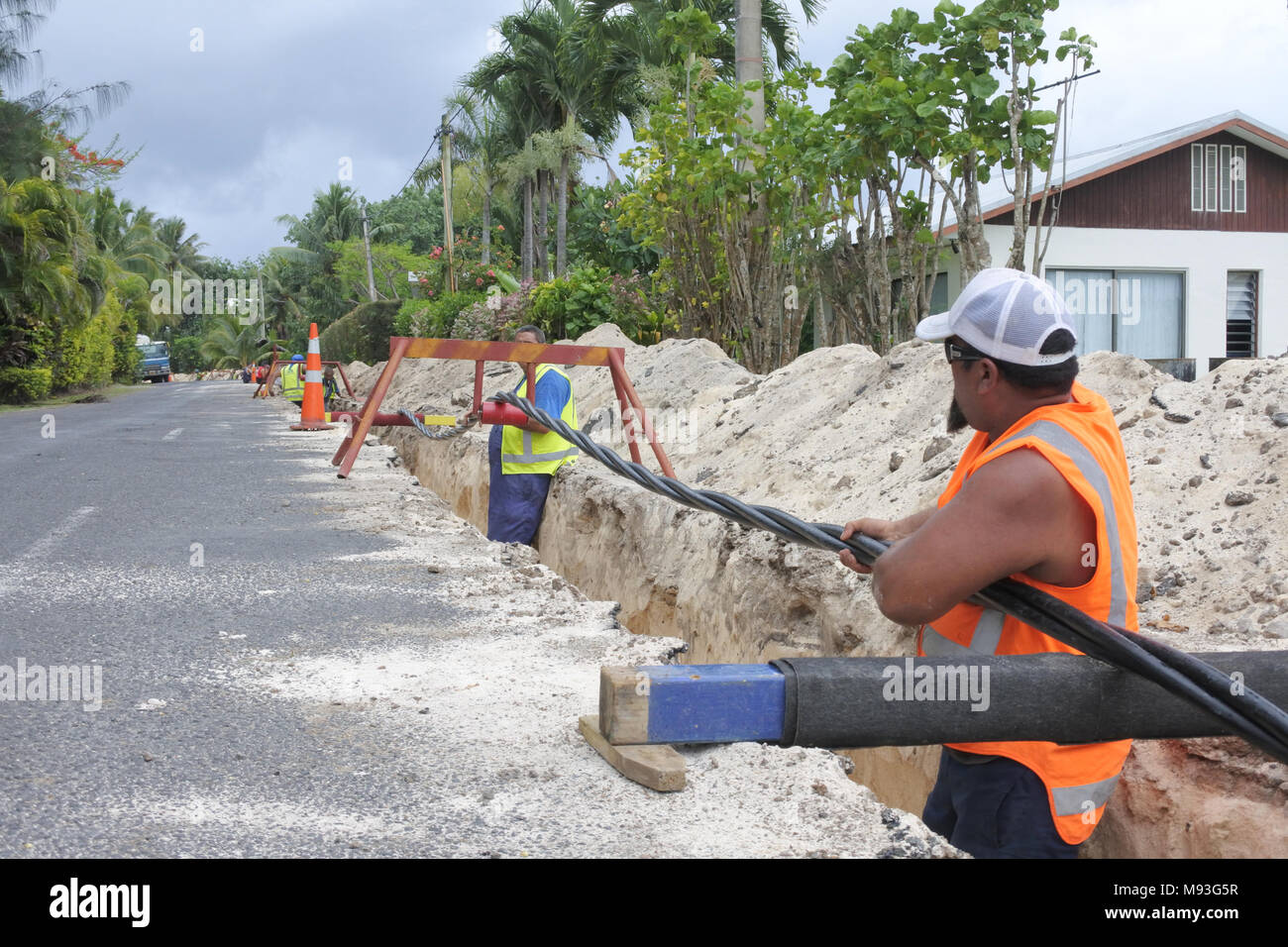 High Voltage Underground Cable Installation : Underground cable work stock photos