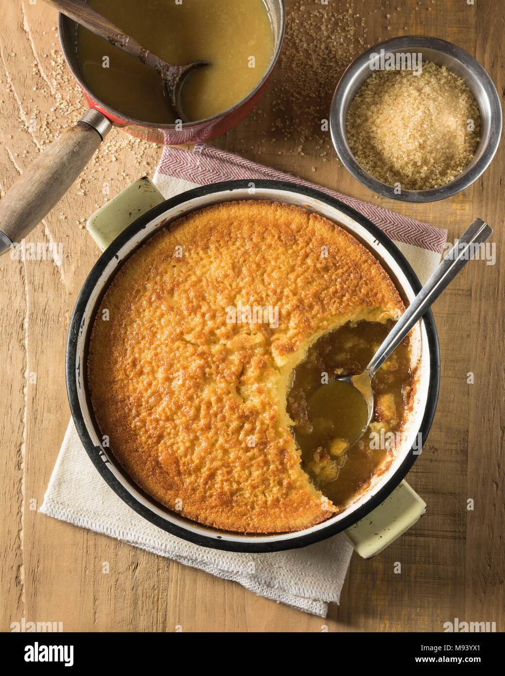 Pouding chômeur. Poor man's pudding. Canada Food - Stock Image