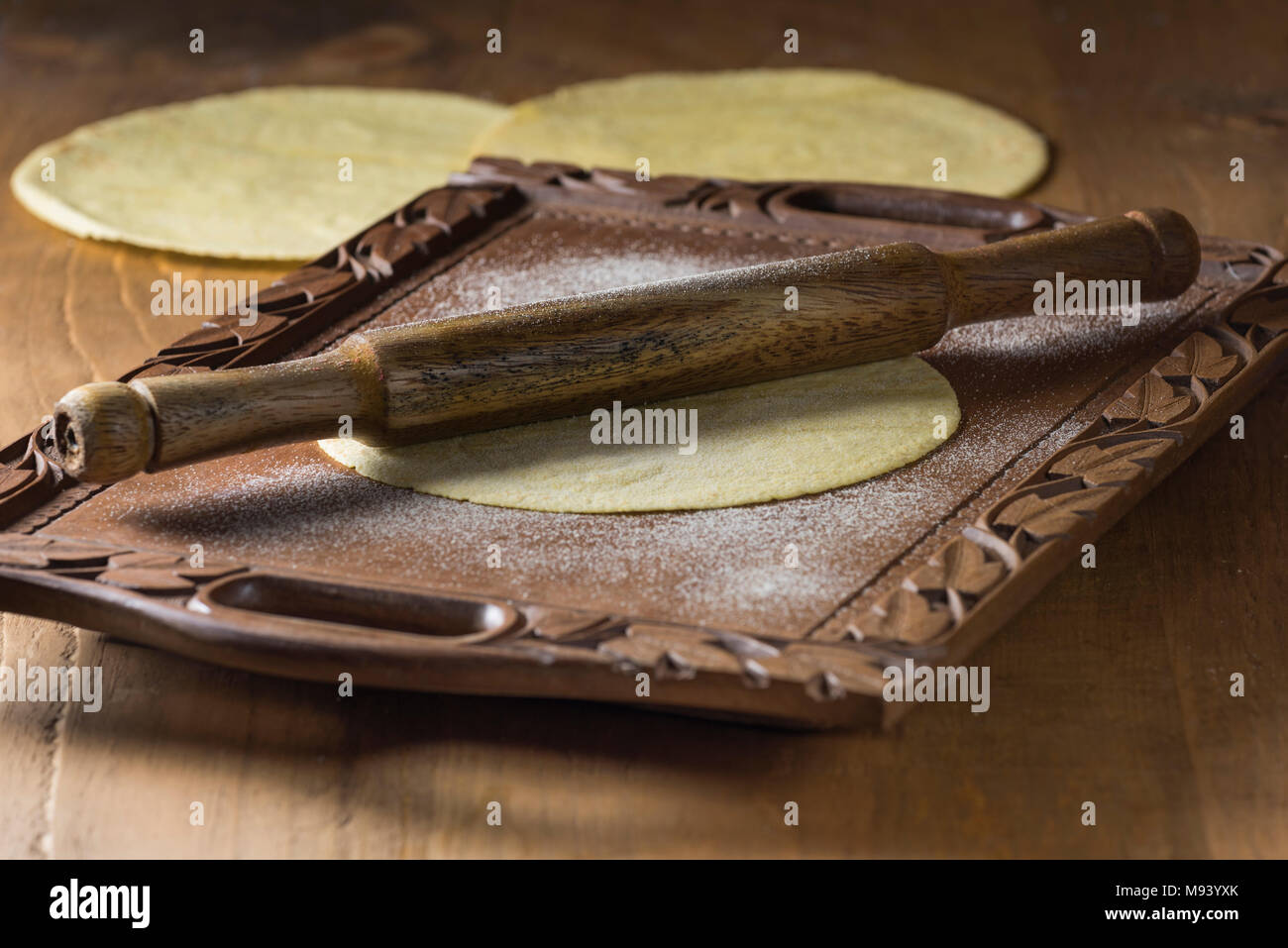 Chapatis. Indian unleavened flatbread. India Food - Stock Image