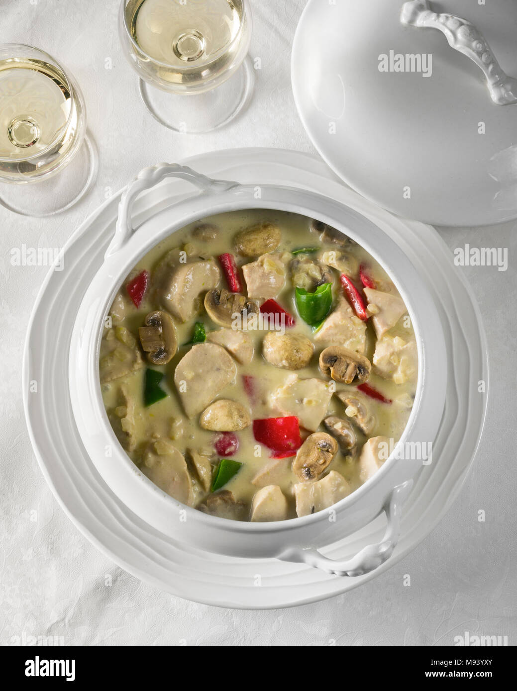 Chicken à la King. Chicken in cream sauce, with sherry, mushrooms and peppers. - Stock Image