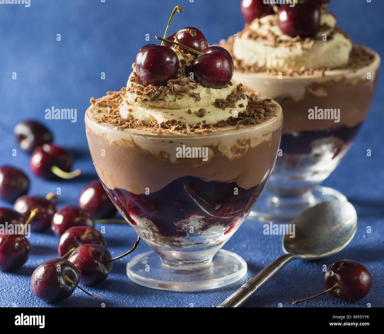 Black Forest trifle. Black cherry chocolate dessert. Food - Stock Image