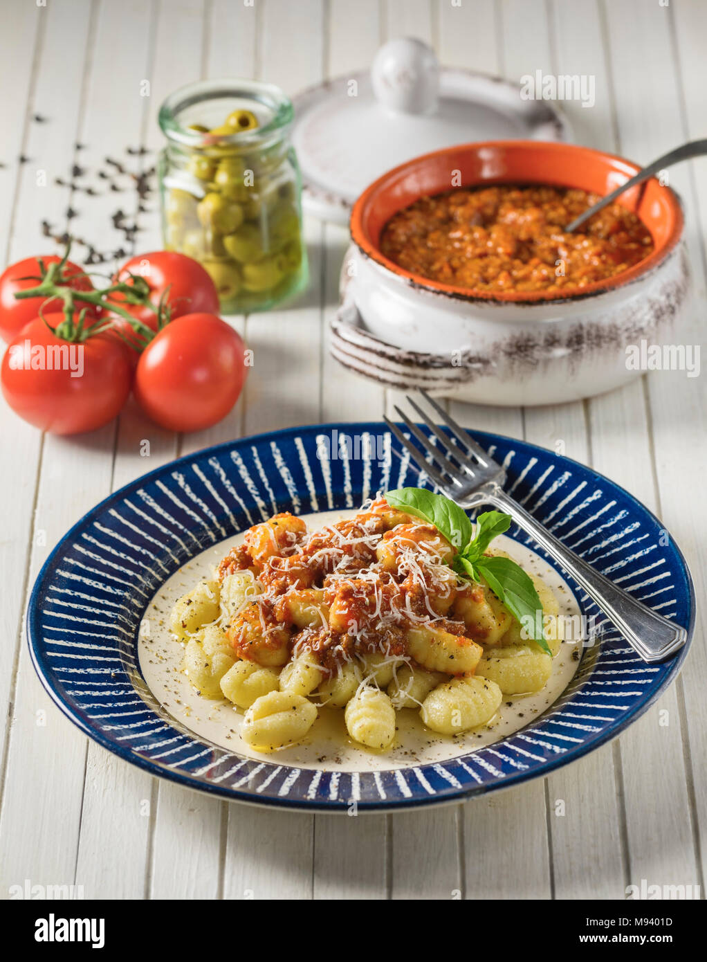 Gnocchi ragù. Italian potato dumplings with bolognese sauce. Italy Food - Stock Image