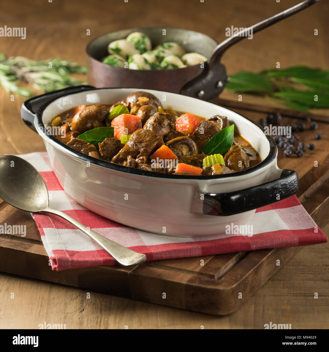 Venison stew. Red wine and game casserole. - Stock Image