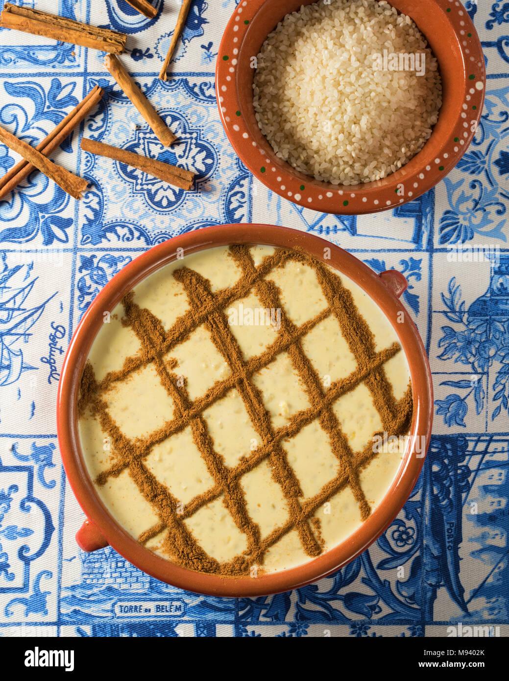 Arroz doce. Portuguese rice pudding. Portugal Food - Stock Image
