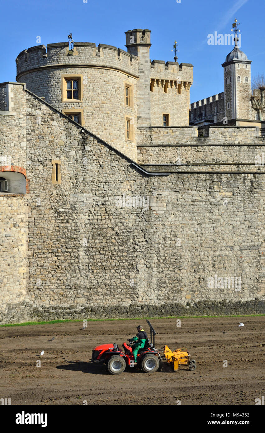 London, England, UK. Tower of London (11th-14thC) Small tractor plowing up land in the moat (March 2018) Devereux Tower (L) - Stock Image