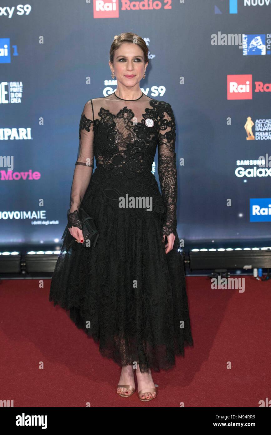 Italy, Rome, 21 March 2018 : Celebrities attend the red carpet of the David di Donatello Movie Awards 2018 pictured Isabella Ragonese    Photo © Fabio Mazzarella/Sintesi/Alamy Live News - Stock Image
