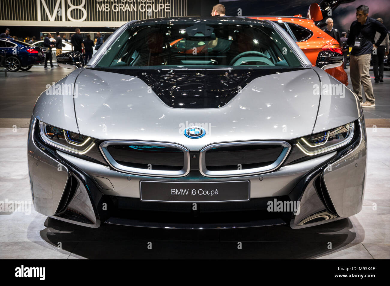 Geneva Switzerland March 7 2018 Front View Of A Bmw I8 Coupe