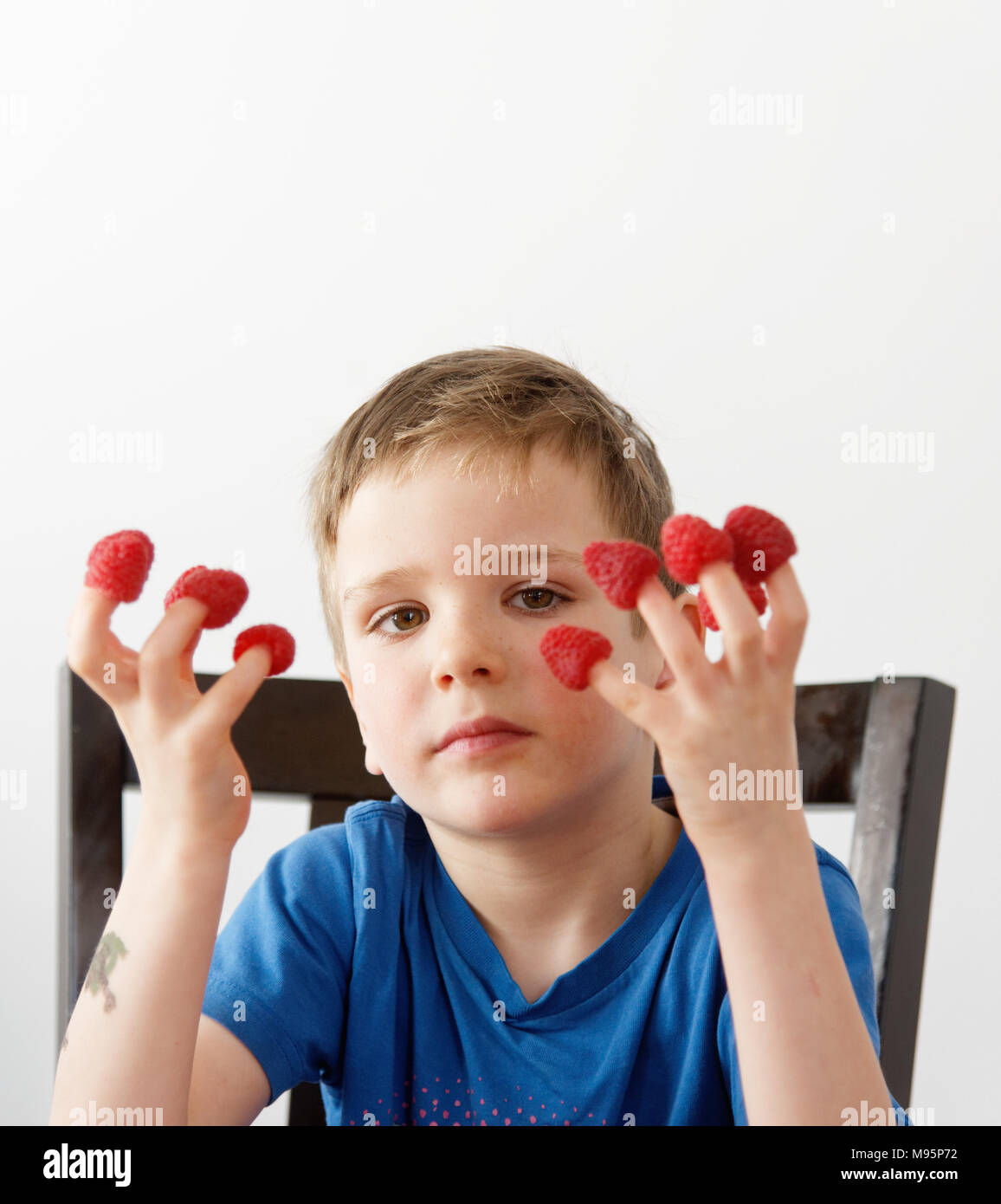 A little boy (5 yrs old) with raspberries on his fingers Stock Photo