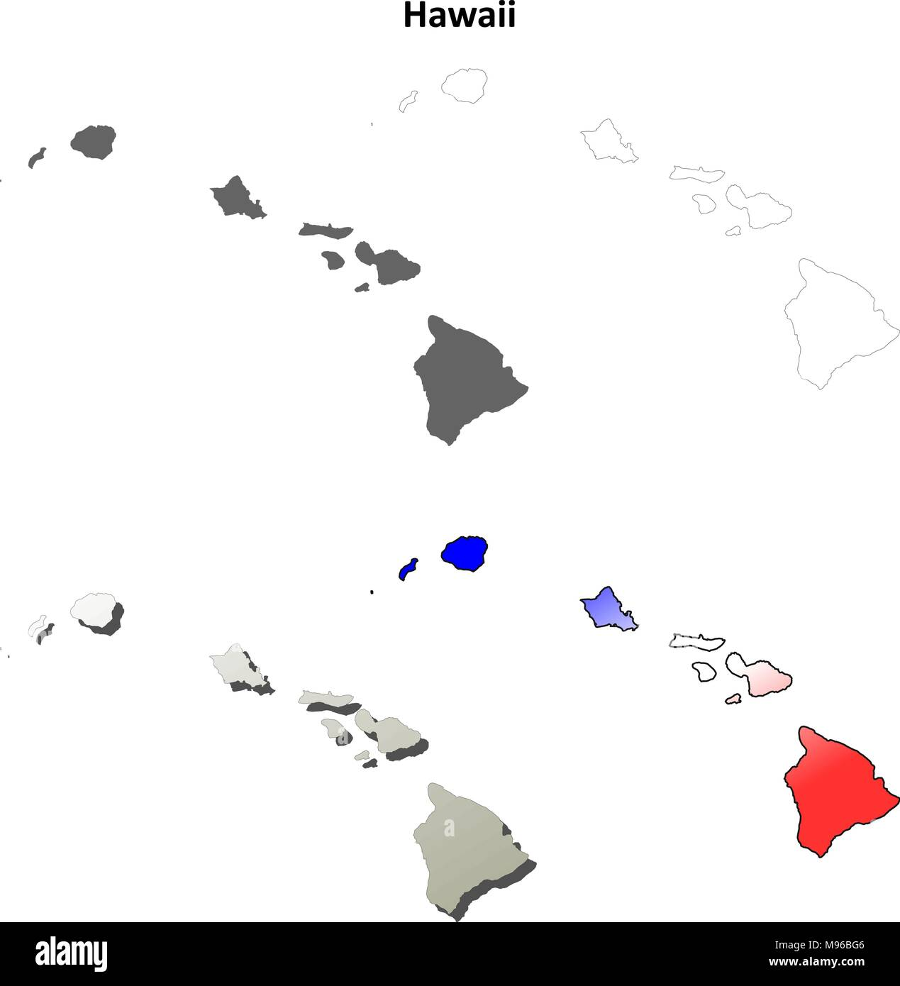 Hawaii Outline Map Set Stock Vector Art Illustration Vector Image