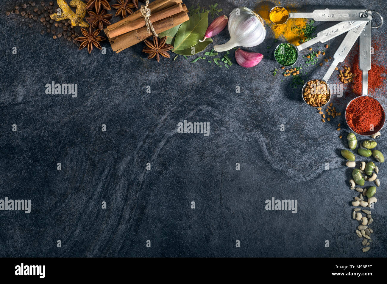 Herbs, spices, pulses - Border with space for text - Stock Image