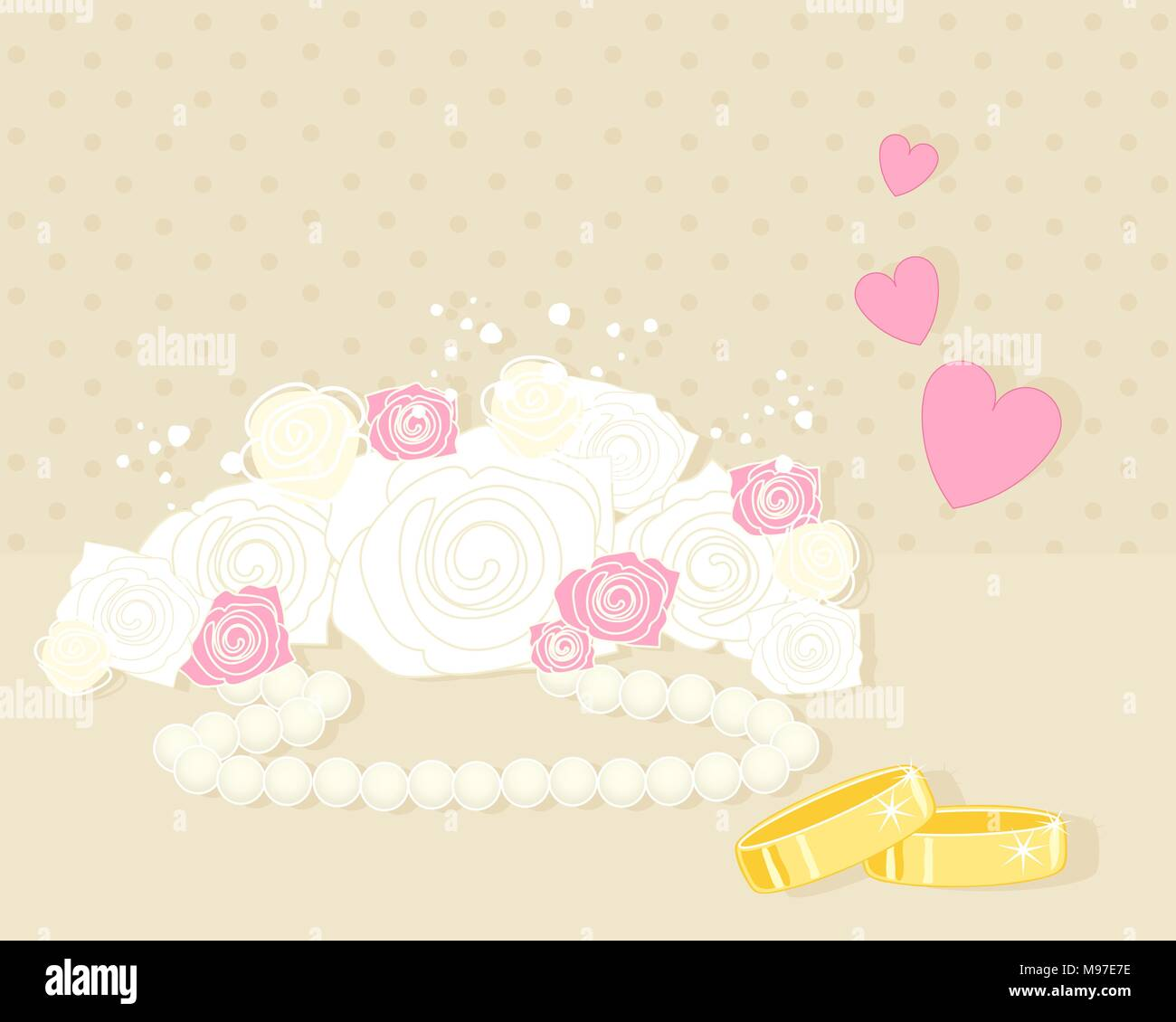 An Illustration Of An Anniversary Greeting Card With White And Pink