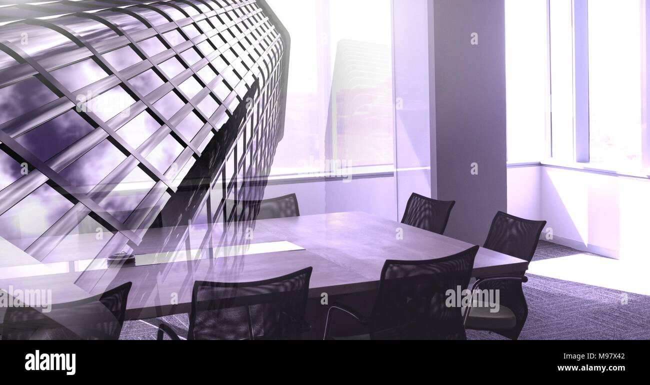 Tall building and office meeting room transition - Stock Image