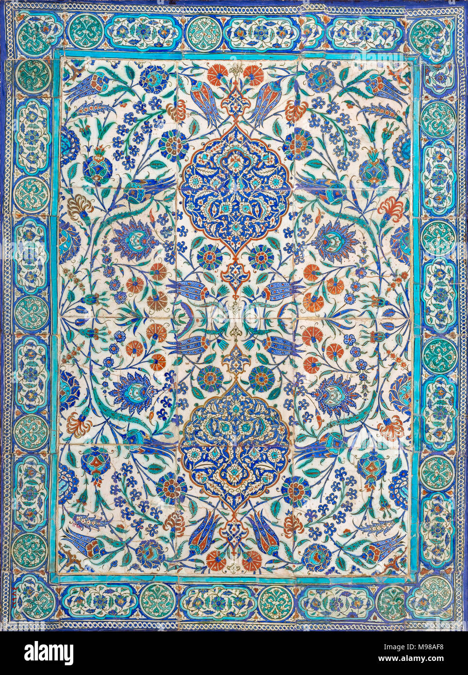 Ottoman Era Style Glazed Ceramic Tiles From Iznik Turkey Decorated