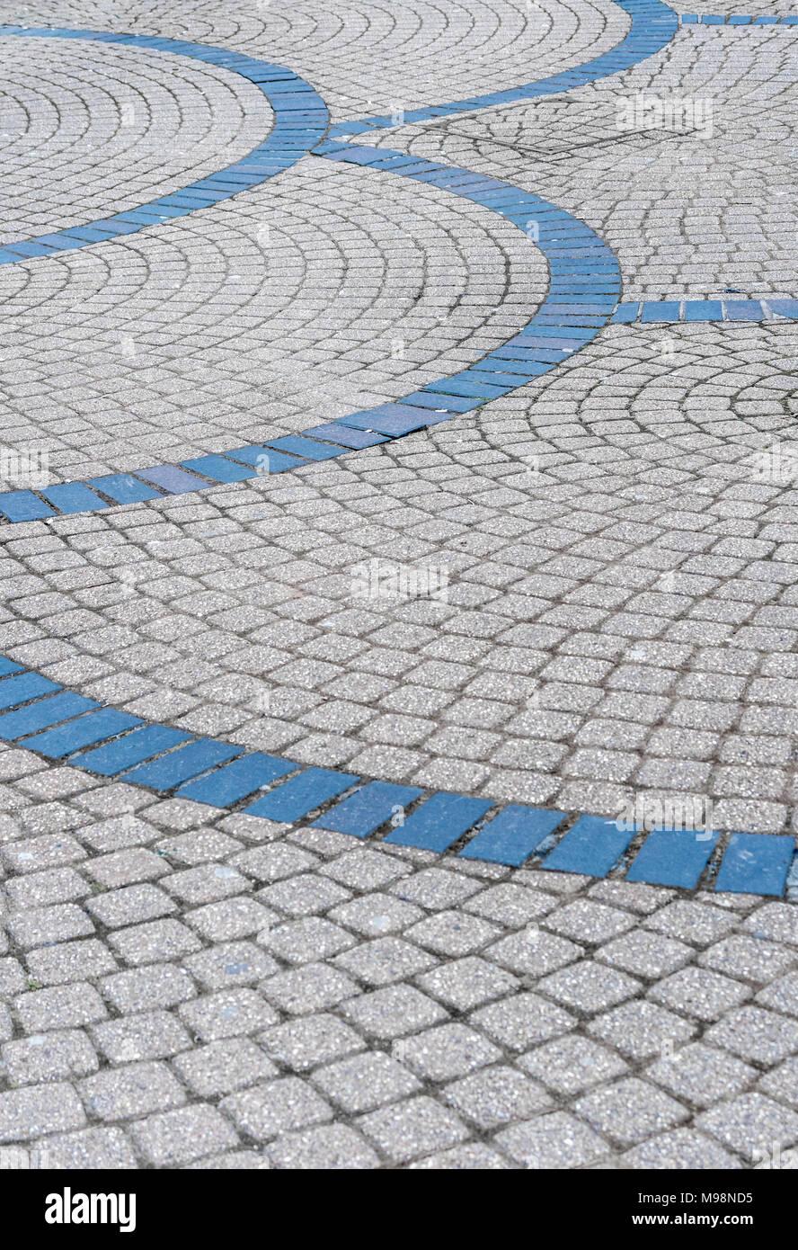 Curved brickwork patterns in Plymouth, Devon. - Stock Image