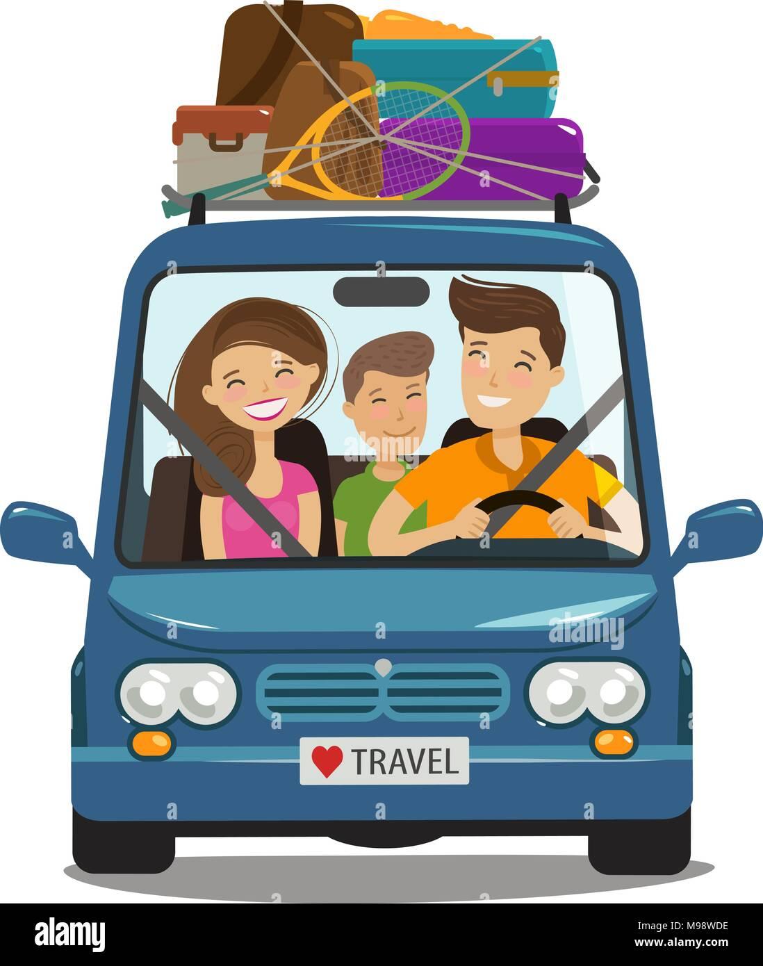 Travel, journey concept. Happy family rides in minivan. Cartoon vector illustration - Stock Image