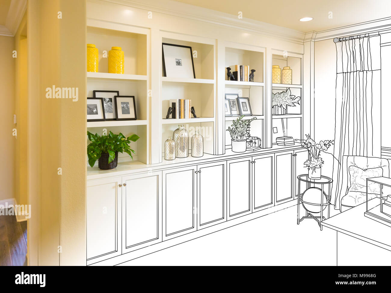 custom built in shelves and cabinets design drawing gradating to