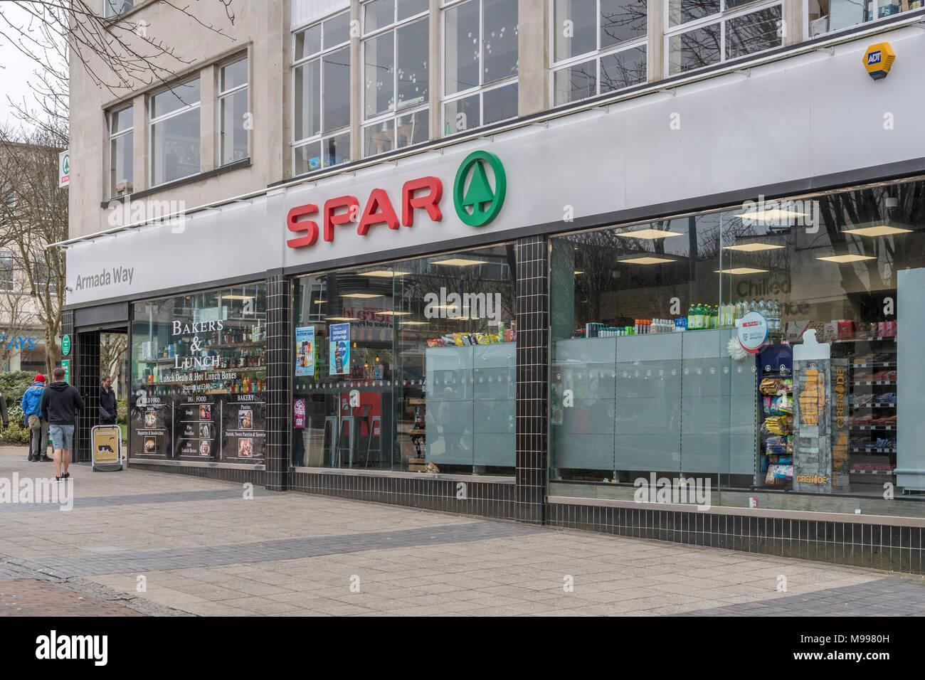 Exterior of SPAR shop on Armada Way, Plymouth, Devon. - Stock Image