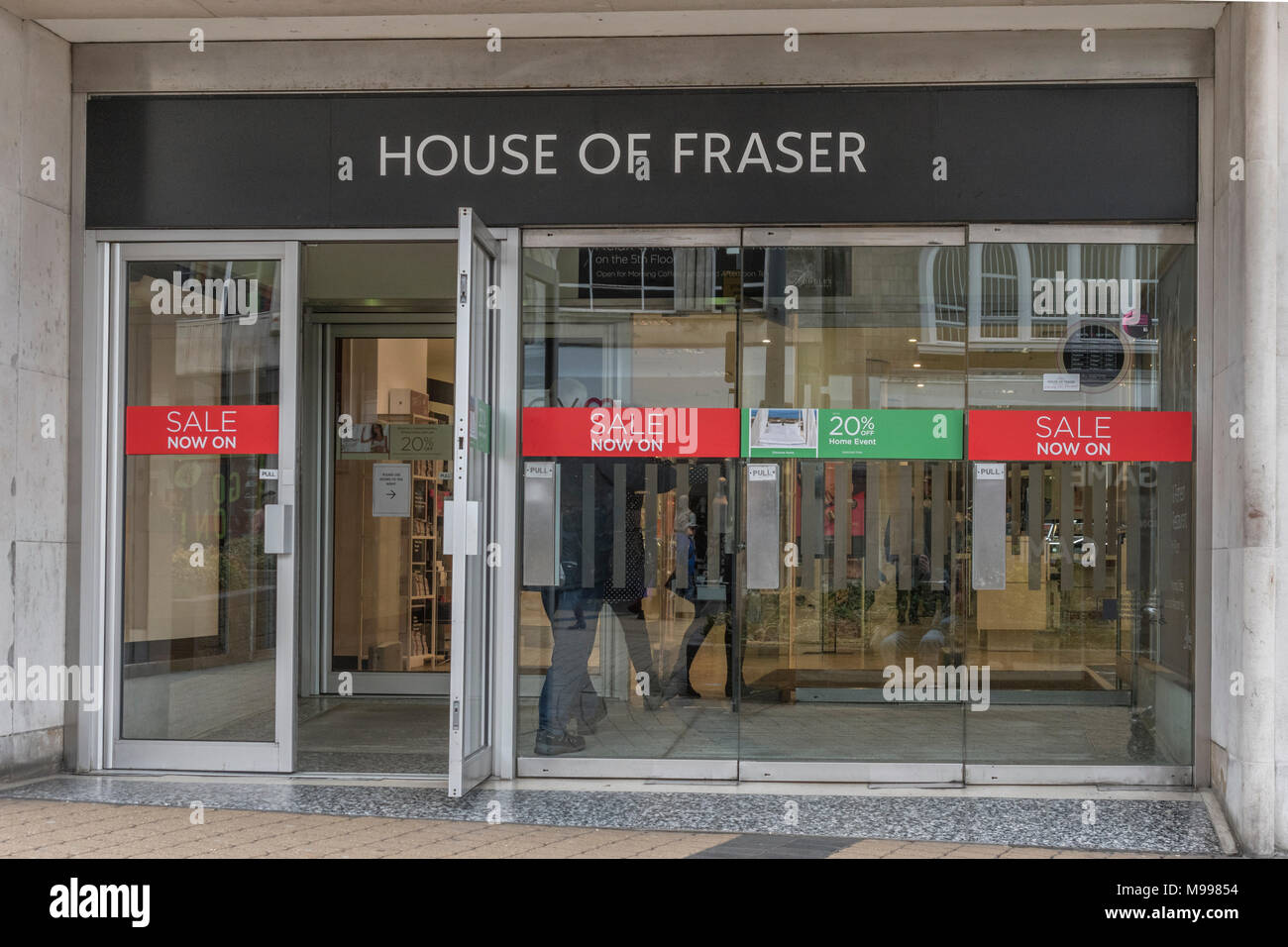 Exterior entrance of House of Fraser shop in Plymouth, Devon. - Stock Image