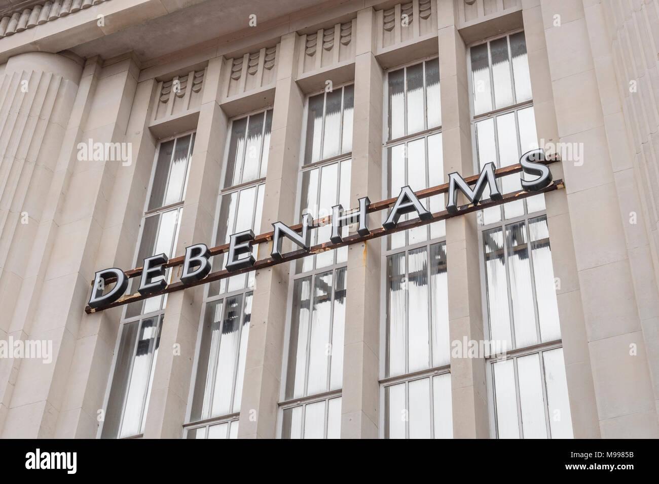 Exterior of Debenhams retail shop in Plymouth with copy space, Devon. Metaphor for 2018 Debenhams profits plunge. - Stock Image
