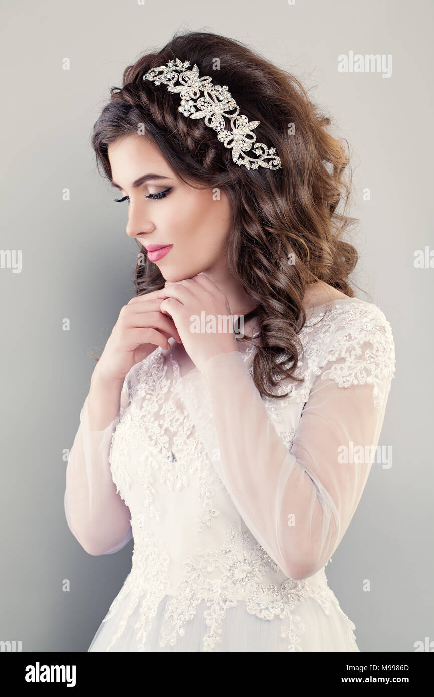 Fashion Portrait Of Pretty Woman Fiancee Wearing White Evening Gown