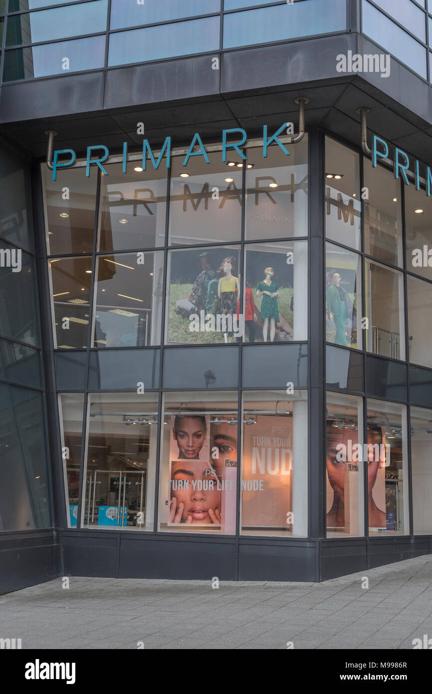 Exterior of the Primark retail unit at the Drake Centre in Plymouth, Devon. - Stock Image