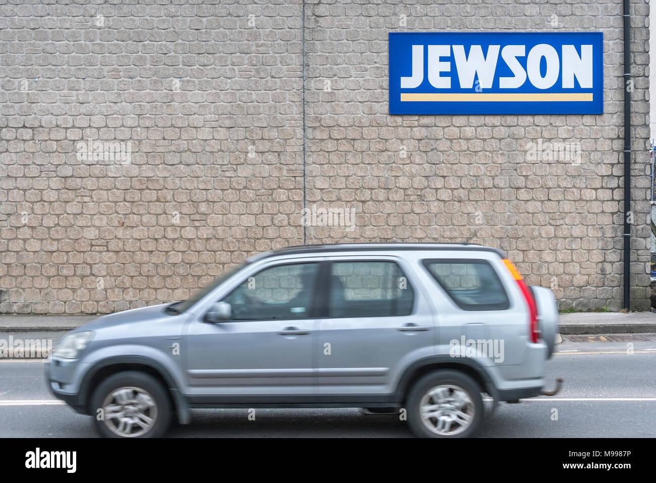 Exteior of Jewson (builder's merchants / construction supplies) yard at Plymouth, Devon. - Stock Image