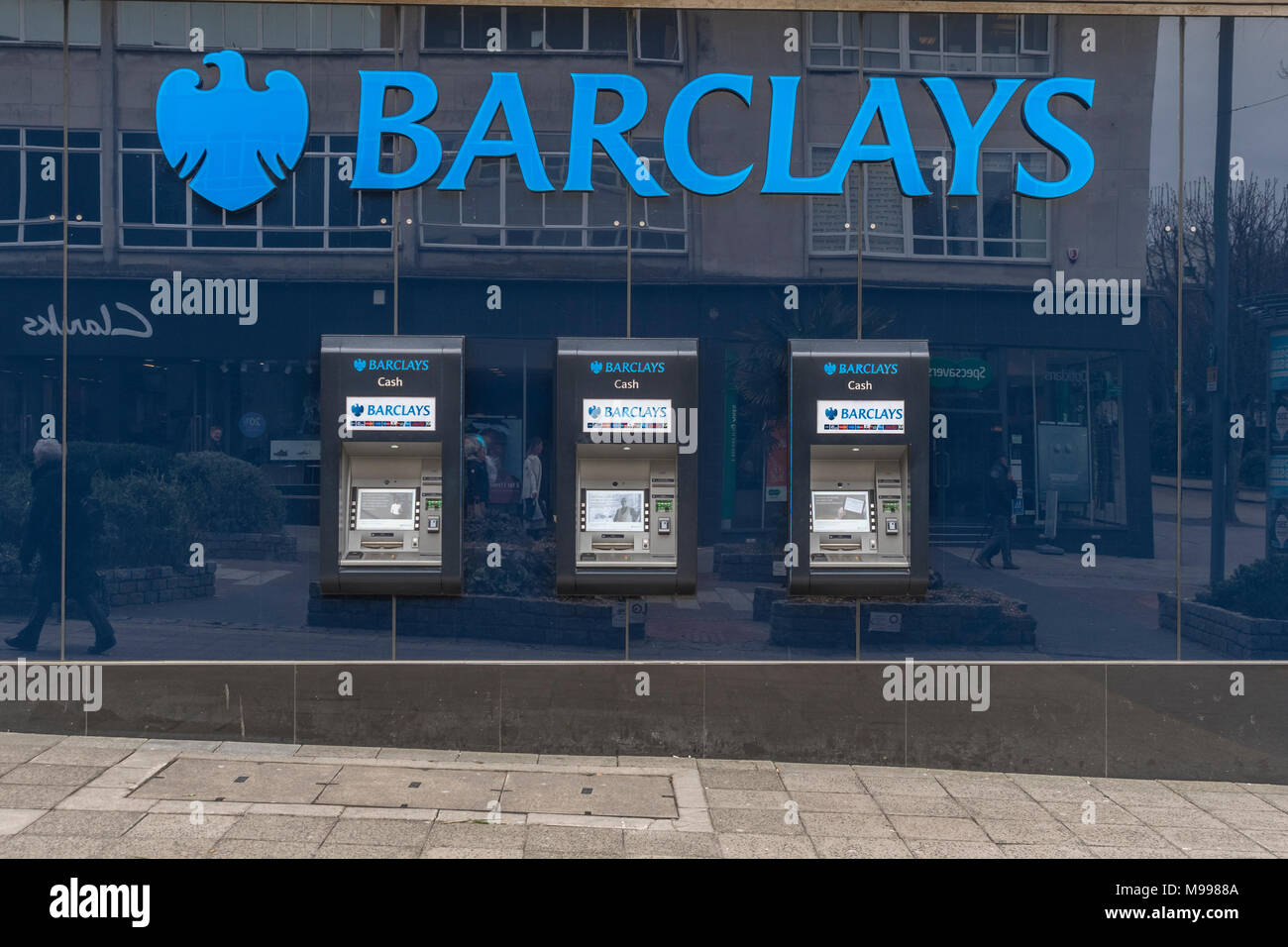 ATM at Barclays Bank site in Plymouth, Devon. - Stock Image