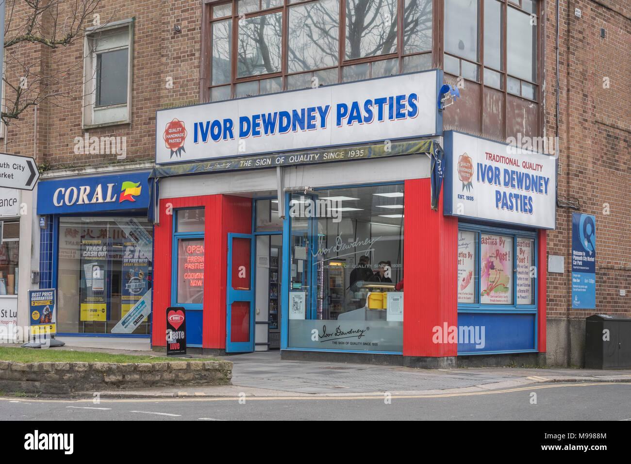 Ivor Dewdney pasty shop in Plymouth, Devon. - Stock Image