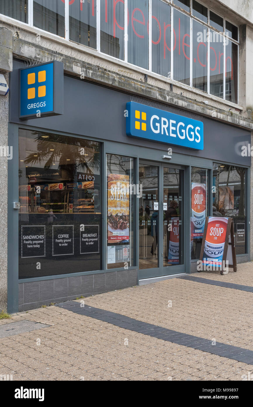 Store fron of Greggs retail shop in Plymouth, Devon. - Stock Image