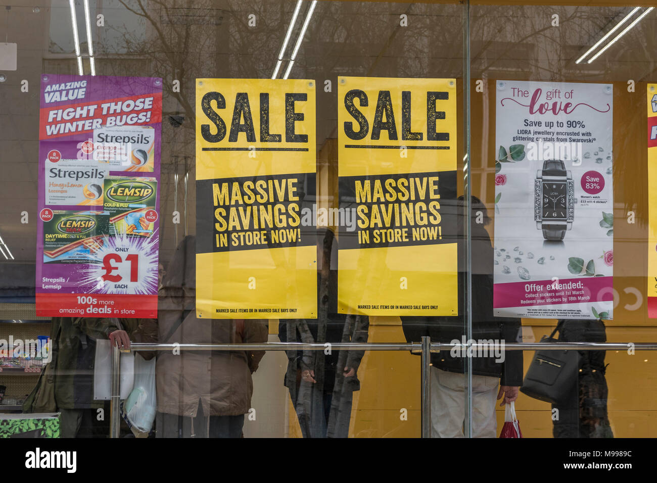 Poundworld'Sale' poster in their retail unti in Plymouth, Devon. - Stock Image