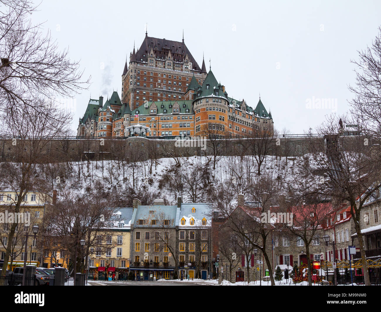 QUEBEC, CANADA - DECEMBER 26, 2016: View of Frontenac Castel (Chateau de Frontenac, in French) in winter under the snow. The Château Frontenac is a gr - Stock Image