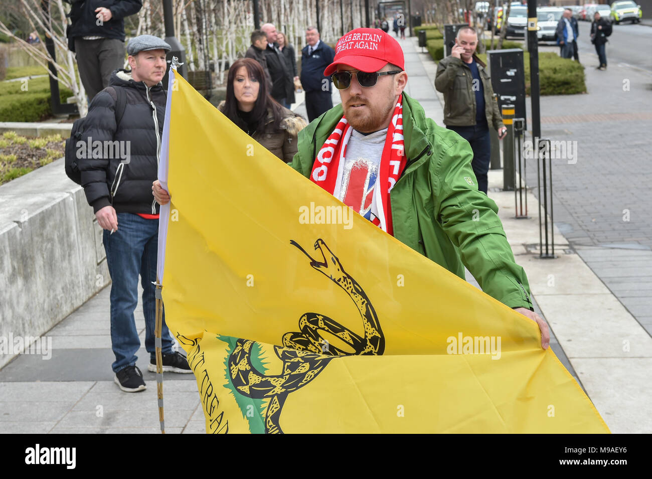 Birmingham, United Kingdom. 24 March 2018. People have gathered for the 'Football Lads Alliance' (FLA) demonstration in Birmingham. There were speeches from John Mieghan, Anne Marie Waters, Luke Nash-Jones and Aline Moraes. After a short march the group dispersed in Edgbaston St. Pictured: Luke Nash-Jones  Credit: Peter Manning/Alamy Live News - Stock Image