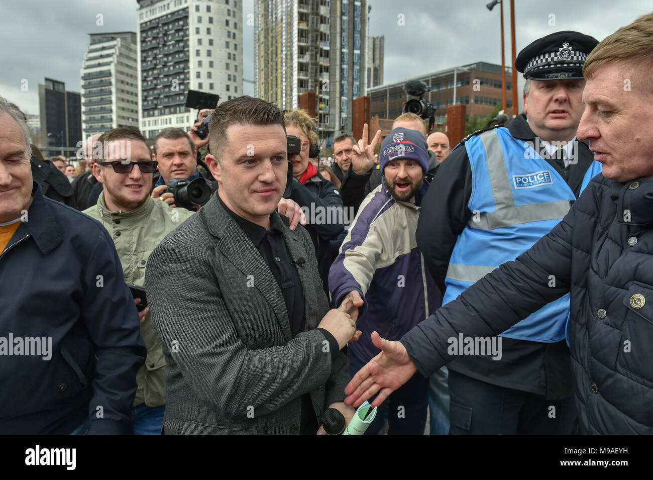 Birmingham, United Kingdom. 24 March 2018. People have gathered for the 'Football Lads Alliance' (FLA) demonstration in Birmingham. There were speeches from John Mieghan, Anne Marie Waters, Luke Nash-Jones and Aline Moraes. After a short march the group dispersed in Edgbaston St. Pictured: Tommy Robinson  Credit: Peter Manning/Alamy Live News - Stock Image
