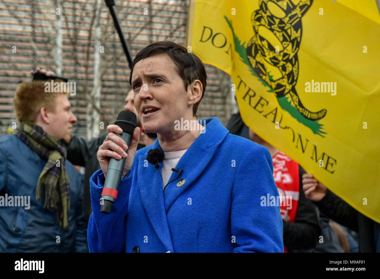 Birmingham, United Kingdom. 24 March 2018. People have gathered for the 'Football Lads Alliance' (FLA) demonstration in Birmingham. There were speeches from John Mieghan, Anne Marie Waters, Luke Nash-Jones and Aline Moraes. After a short march the group dispersed in Edgbaston St. Pictured: Anne Marie Waters  Credit: Peter Manning/Alamy Live News - Stock Image