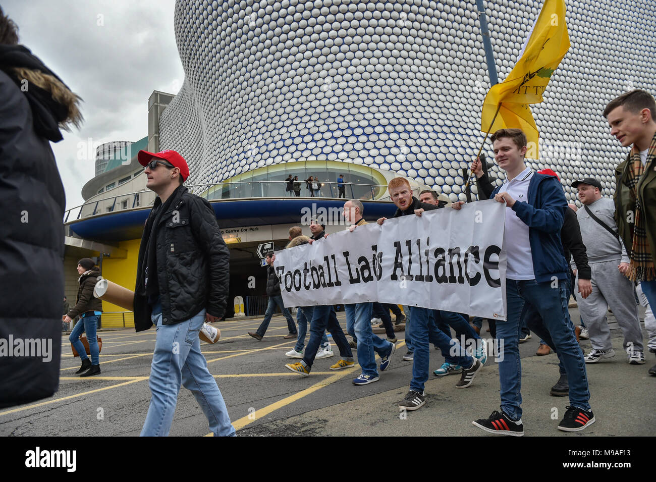 Birmingham, United Kingdom. 24 March 2018. People have gathered for the 'Football Lads Alliance' (FLA) demonstration in Birmingham. There were speeches from John Mieghan, Anne Marie Waters, Luke Nash-Jones and Aline Moraes. After a short march the group dispersed in Edgbaston St.  Credit: Peter Manning/Alamy Live News - Stock Image