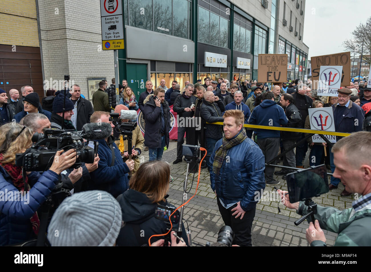 Birmingham, United Kingdom. 24 March 2018. People have gathered for the 'Football Lads Alliance' (FLA) demonstration in Birmingham. There were speeches from John Mieghan, Anne Marie Waters, Luke Nash-Jones and Aline Moraes. After a short march the group dispersed in Edgbaston St. Pictured: John Mieghan  Credit: Peter Manning/Alamy Live News - Stock Image