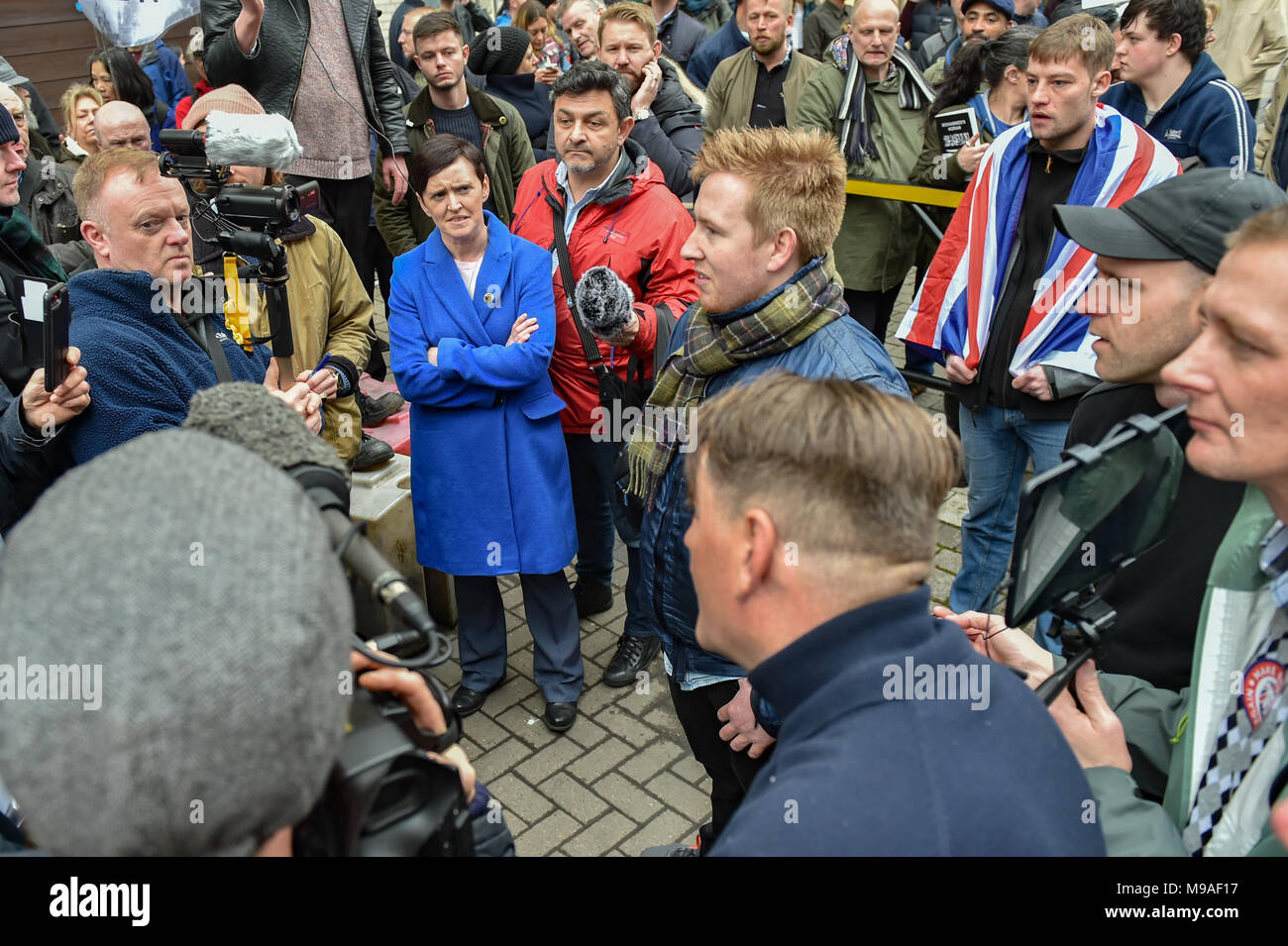 Birmingham, United Kingdom. 24 March 2018. People have gathered for the 'Football Lads Alliance' (FLA) demonstration in Birmingham. There were speeches from John Mieghan, Anne Marie Waters, Luke Nash-Jones and Aline Moraes. After a short march the group dispersed in Edgbaston St. Pictured: Anne Marie Waters & John Mieghan  Credit: Peter Manning/Alamy Live News - Stock Image