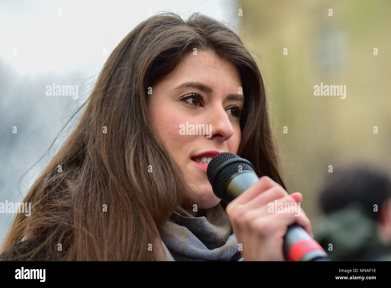 Birmingham, United Kingdom. 24 March 2018. People have gathered for the 'Football Lads Alliance' (FLA) demonstration in Birmingham. There were speeches from John Mieghan, Anne Marie Waters, Luke Nash-Jones and Aline Moraes. After a short march the group dispersed in Edgbaston St. Pictured: Aline Moraes  Credit: Peter Manning/Alamy Live News - Stock Image