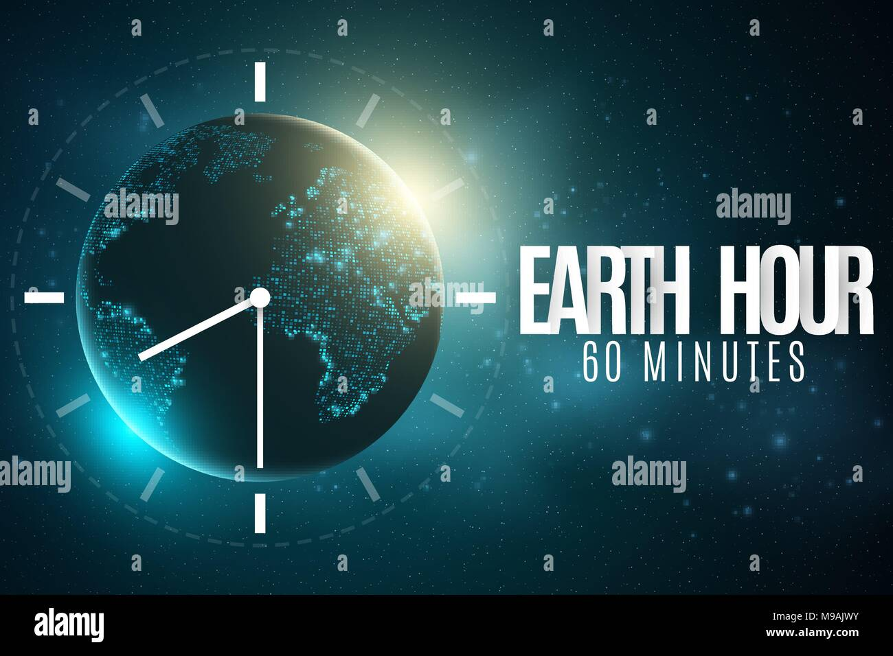 Earth hour futuristic planet earth 60 minutes without electricity earth hour futuristic planet earth 60 minutes without electricity 3d paper letters sunrise global holiday clock go abstract world map starry s gumiabroncs Choice Image