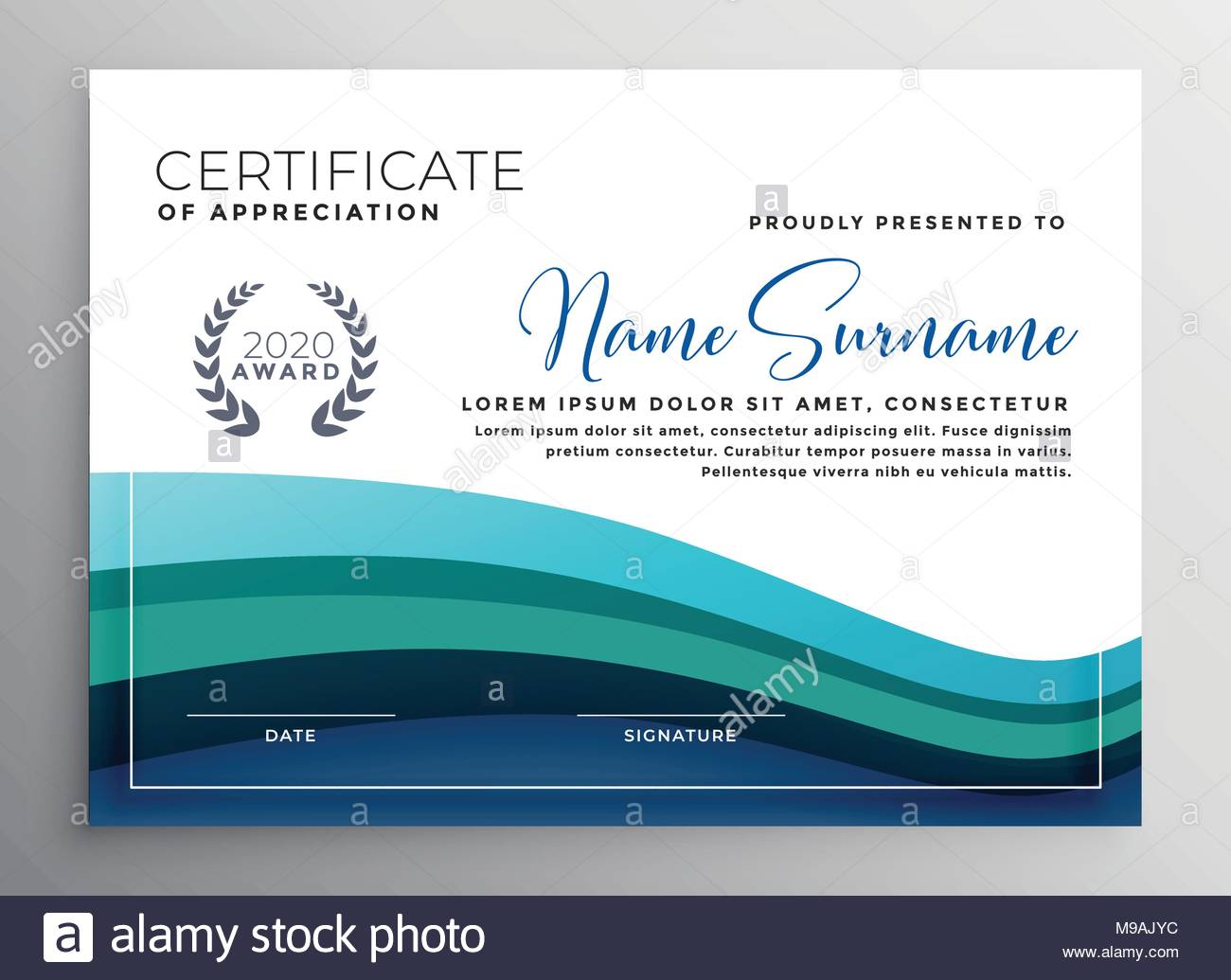 Stylish Blue Wave Certificate Of Appreciation Template Stock Vector