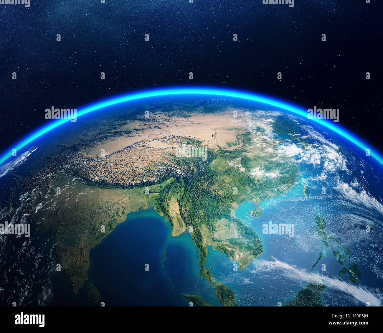Earth viewed from space with focus on Asia. Detailed 3D render against dark starry night sky (Elements of this render furnished by NASA) - Stock Image
