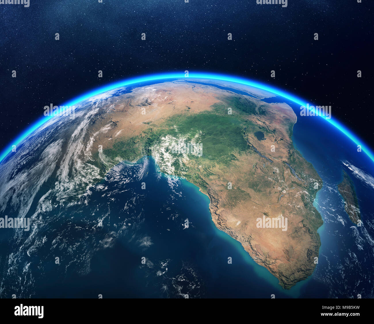 Earth viewed from space with focus on Africa. Detailed 3D render against dark starry night sky (Elements of this render furnished by NASA) - Stock Image