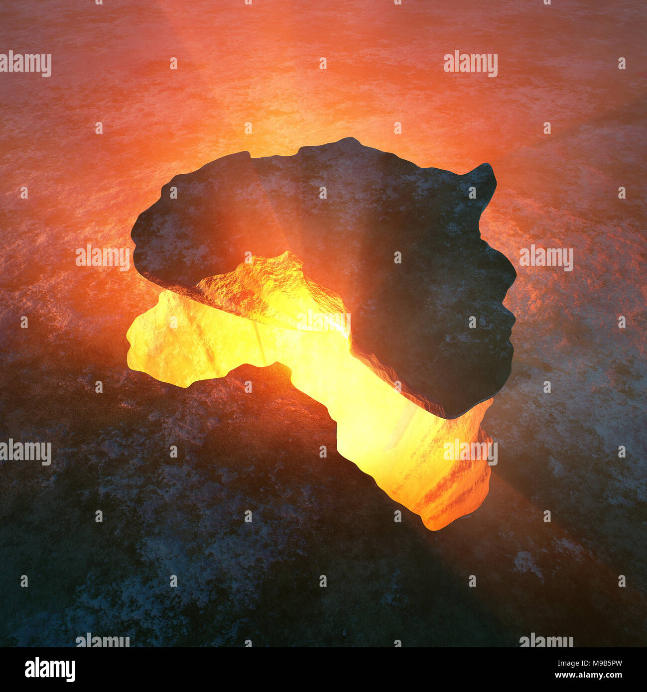 Continent of Africa as solid rock ripped from a red hot hole in the earth. Conceptual 3D rendered artwork - Stock Image