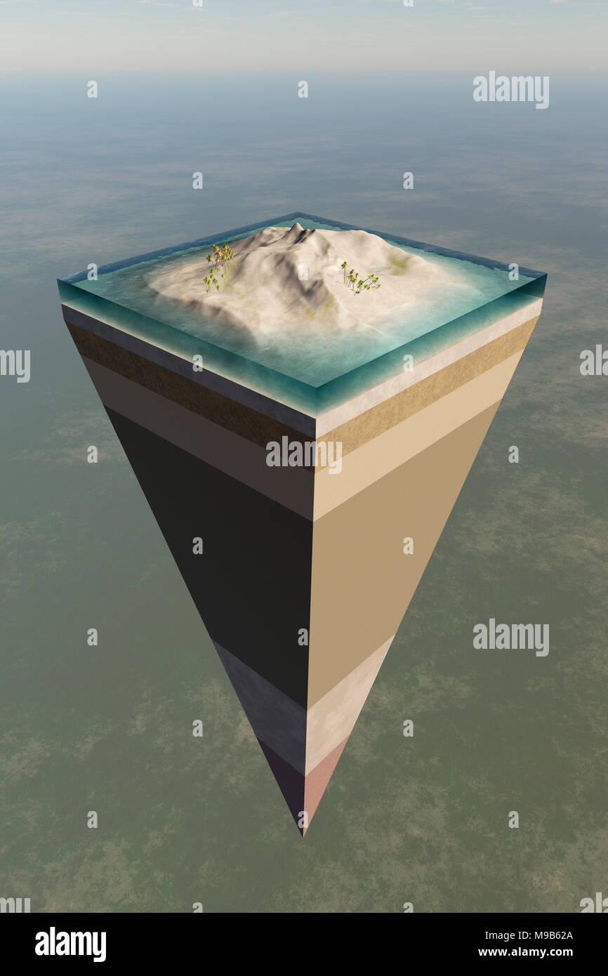 Earth core structure illustrated with a layered cross-section shown high in the sky. 3D rendered artwork - Stock Image
