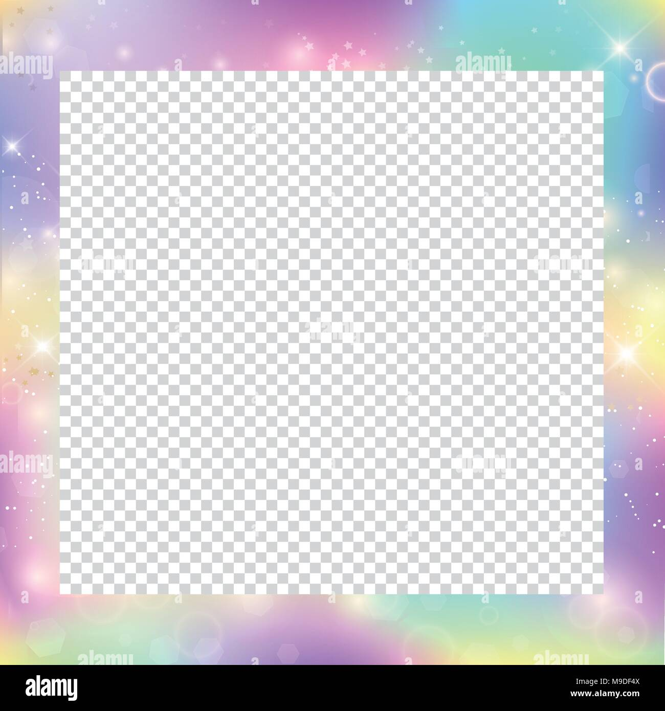 Magic frame with rainbow mesh and space for text. Cute universe ...