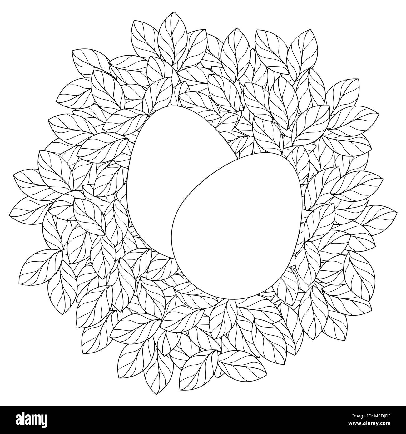 easter card template with eggs in linear leaves nest stock vector