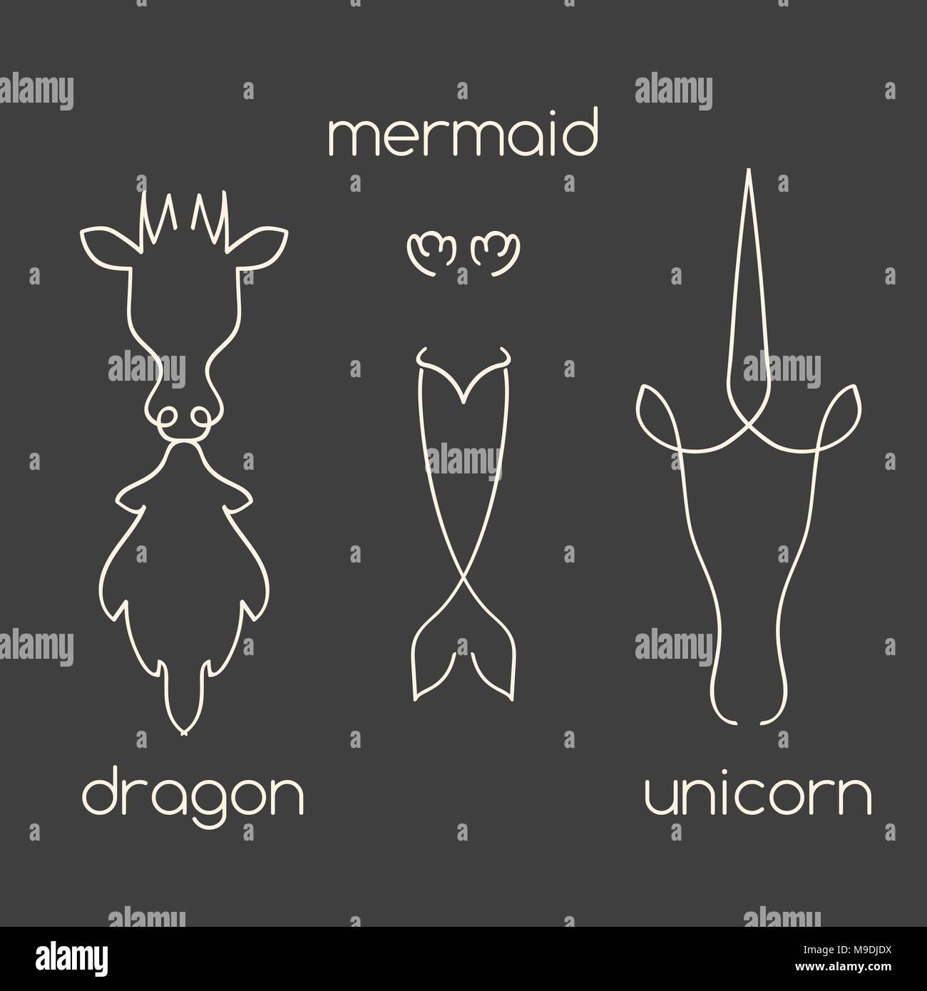 Mythical creatures line art set - Stock Image