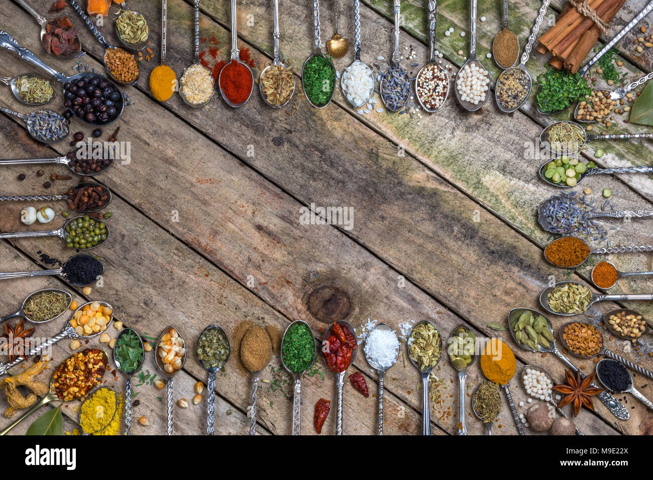 Herbs and Spices - with space for text - Menu or Recipe. - Stock Image